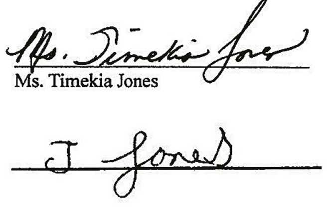 "The real signature of Timekia Jones, above, with the signature the Buffalo School District said was ""disguised writing,"" below."