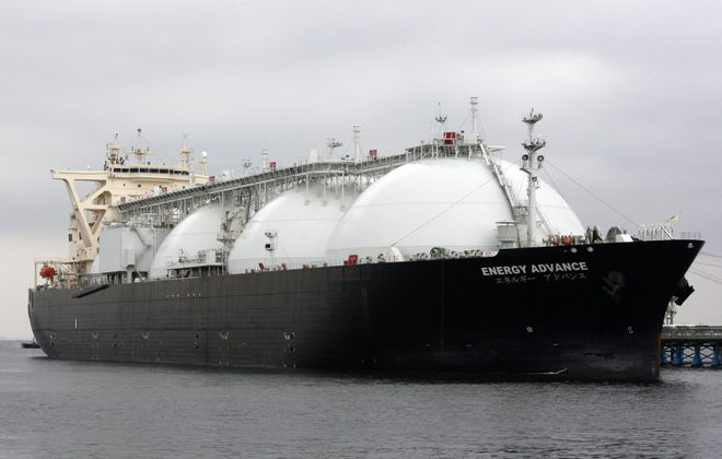 This liquefied natural gas (LNG) tanker operated by Energy Advance Co., a unit of Tokyo Gas Co., could someday take shipments from the Jordan Cove Terminal just approved by the U.S. Energy Department.