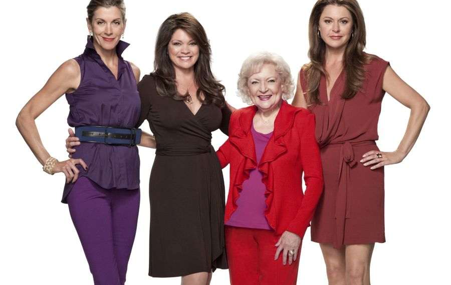 "The ""Hot in Cleveland"" cast, from left, Wendie Malick, Valerie Bertinelli, Betty White and Jane Leeves."