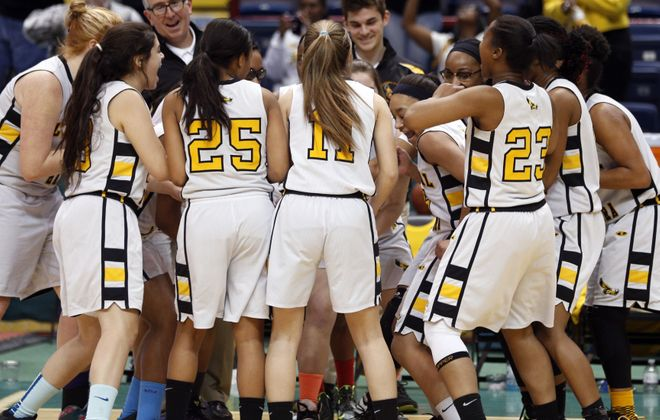 O'Hara celebrates its 76-47 triumph over New York City's Martin Luther King Jr. in the State Federation Tournament of Champions.