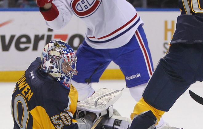 British Columbia native Nathan Lieuwen will start in goal for the Sabres in Vancouver tonight.