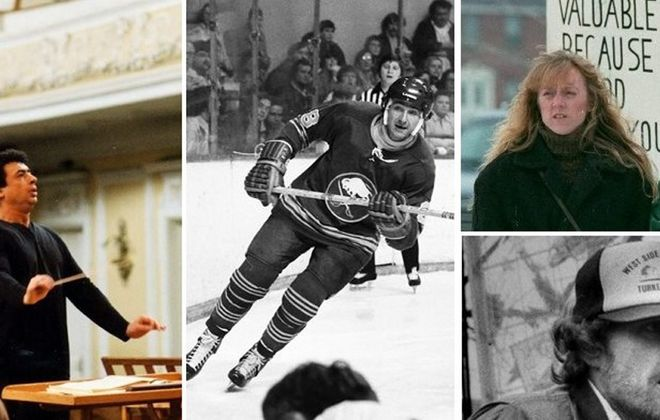 From left, Semyon Bychkov, who led the BPO from 1985-89; Jim Lorentz, former Sabres and longtime TV broadcaster; pro-life activist Karen Swallow Prior, and Billie Lawless (bottom right), whose 'Green Lightning' caused a sensation in 1984.