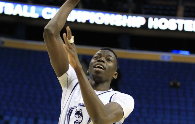 Connecticut's 7-foot Amida Brimah was a big factor in the Huskies overtime victory over Saint Joseph's. The 7th-seeded Huskies will need more from the freshman when they face No. 2 Villanova in the East Regional at the First Niagara Center.