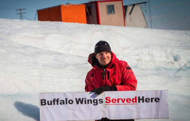 Saving every wing from chickens shipped to the polar cap twice a year, and hydroponic celery,  Justin Chambers managed to serve Buffalo wings at the end of the Earth. (Justin Chambers)