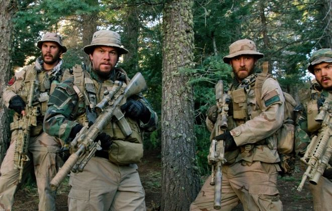 From left, Taylor Kitsch, as Michael Murphy, Mark Wahlberg as Marcus Luttrell, Ben Foster as Matt Axelson, and Emile Hirsch as Danny Dietz in a scene from the film, ìLone Survivor.""