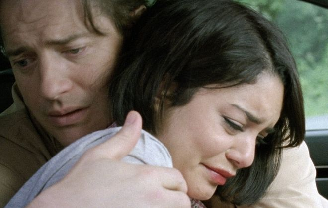"Brendan Fraser and Vanessa Hudgens in a scene from ""Gimme Shelter."" (AP Photo/Roadside Attractions)"