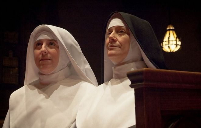 "Kelly Beuth and Kate Olena star in the Brazen-Faced Varlets' production of ""Agnes of God."""