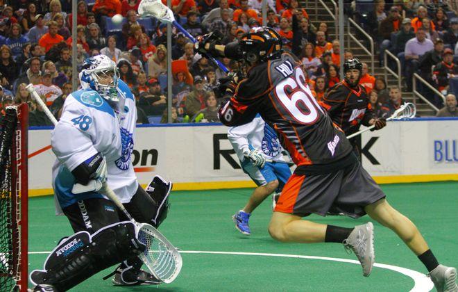 Rochester goalie Matt Vinc, stopping a shot from the Bandits' Alexander Kedoh Hill last April, grew up a Bandits fan.