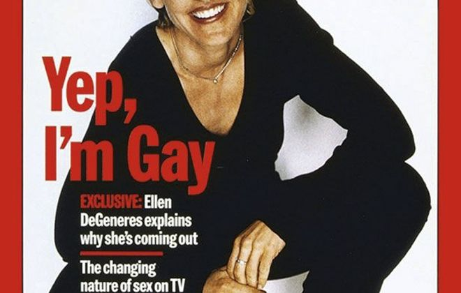In an undated handout photo, the Time cover that proclaimed Ellen DeGeneres's coming out in 1997. DeGeneres, a hit on television and Twitter, will on March 2, 2014 become a two-time host of the Academy Awards. (Handout via The New York Times) -- NO SALES; FOR EDITORIAL USE ONLY WITH STORY SLUGGED TV DEGENERES ADV19 BY BROOKS BARNES. ALL OTHER USE PROHIBITED. -- PHOTO MOVED IN ADVANCE AND NOT FOR USE - ONLINE OR IN PRINT - BEFORE JAN. 19, 2014.