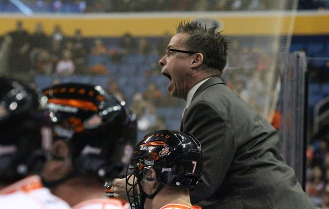 Bandits head coach Troy Cordingley encourages his team during the first quarter against his former team the Toronto Rock.