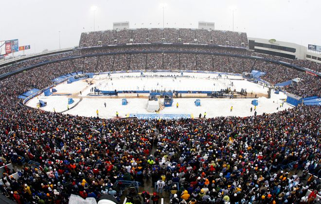 A crowd of more than 71,000 was on hand at Ralph Wilson Stadium in 2008 to watch the NHL's first Winter Classic. (Harry Scull Jr./News file photo)