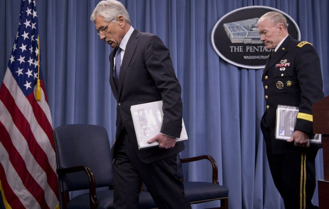Defense Secretary Chuck Hagel and Gen. Martin E. Dempsey, the chairman of the Joint Chiefs of Staff, say a smaller Army must be more effective. (AP photo)