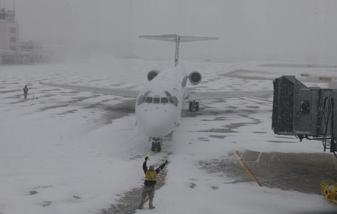 An Allegiant plane taxis to its gate at Niagara Falls International Airport in this 2013 file photo. (Harry Scull Jr./Buffalo News)
