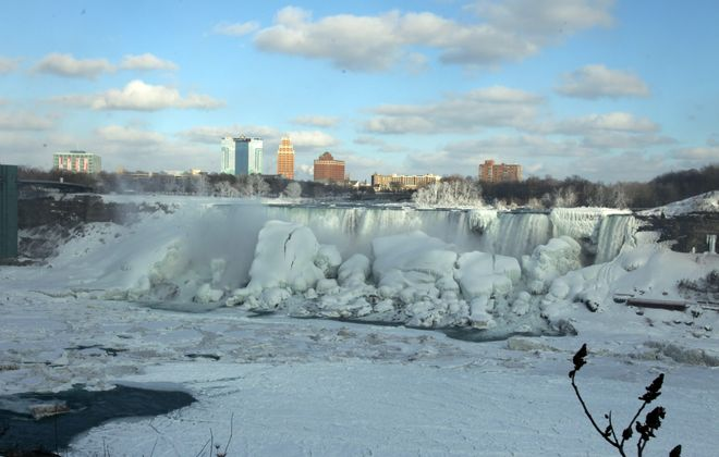 A view of the frozen American Falls taken from Niagara Falls, Ont., on Wednesday shows the extent of the icing.