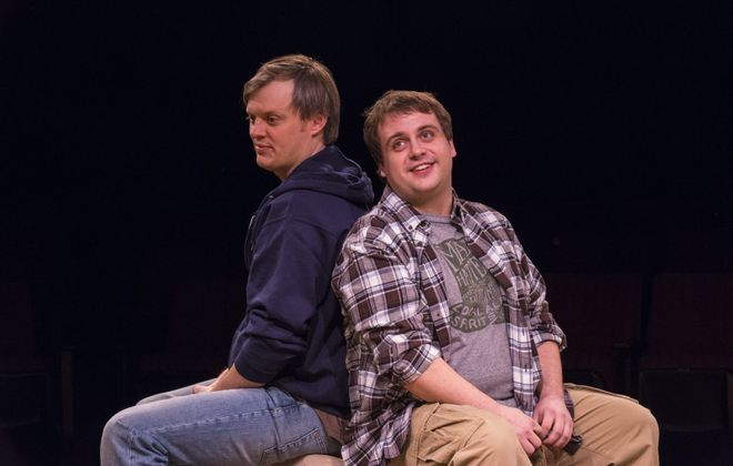"Christopher Evans and Kevin Craig star in the Irish Classical Theatre Company's production of ""Stones in His Pockets."""
