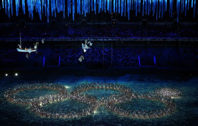 In a charming touch, dancers reenact the Opening Ceremony ring failure during the 2014 Sochi Winter Olympics Closing Ceremony at Fisht Olympic Stadium on Sunday in Sochi, Russia. The host country won the most medals – 33 – during the games.