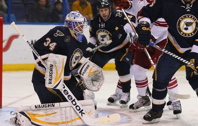 Jake Allen of the AHL Chicago Wolves is waiting his opportunity to be the St. Louis Blues' goalie of the future. (Getty Images)