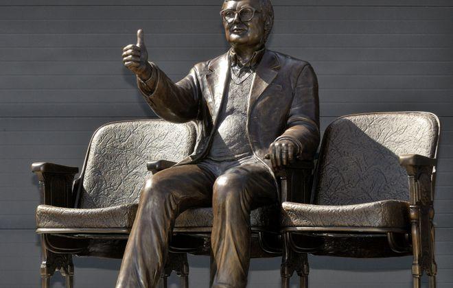 This bronze statue of film critic Roger Ebert was unveiledin Champaign, Ill., Thursday.
