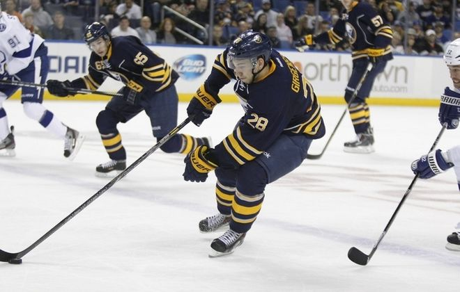 Zemgus Girgensons, returning after an 11-game absence, was a big presence against Tampa Bay on Saturday night. (Harry Scull Jr./Buffalo News)