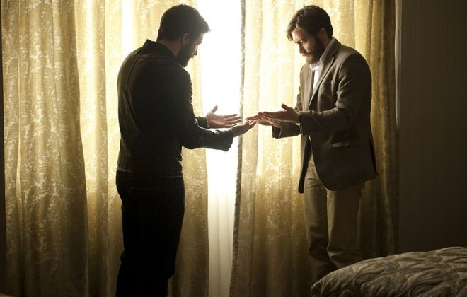 """Jake Gyllenhaal meets his double in a scene from the movie """"Enemy."""""""