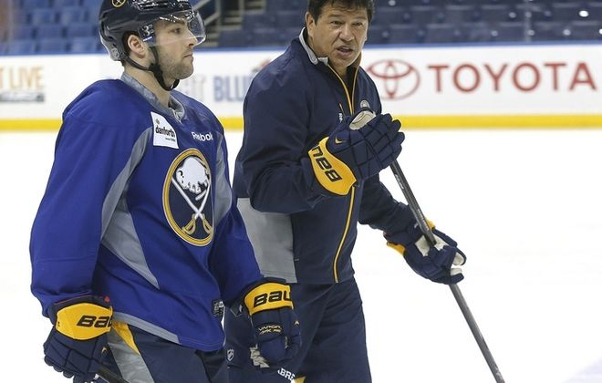 Cory Conacher, left, will look to impress Sabres head coach Ted Nolan in the coming season. (Robert Kirkham/Buffalo News)