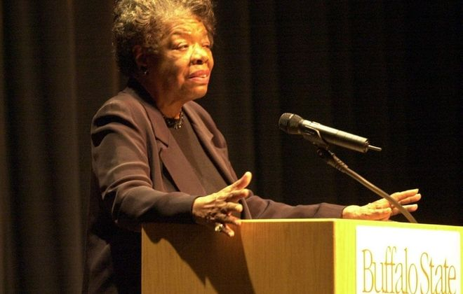 Poet Maya Angelou speaks at SUNY Buffalo State in May, 2004.