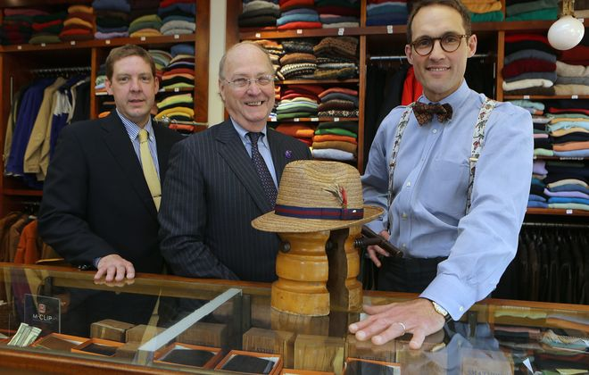 Ethan Andrew Huber, Bernhard John Huber and John Huber III man the O'Connell's Clothing counters at 3240 Main St. in Buffalo, but their family store has seen its most explosive growth online, with customers buying goods from around the world.