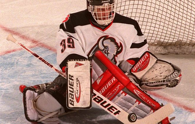 Sabres goalie Dominik Hasek makes a save in 1998. (Harry Scull Jr./News file photo)