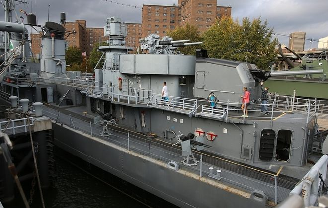 The USS The Sullivans, at the Buffalo and Erie County Naval and Military Park will serve as the backdrop for the filming of a live QVC show on Wednesday.  (Charles Lewis/Buffalo News)