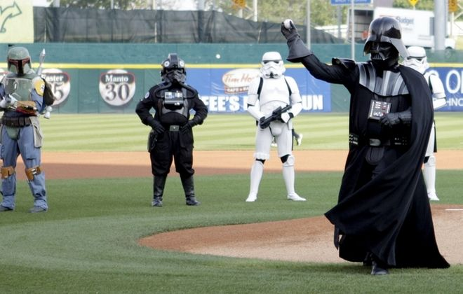 Darth Vader tosses out the first pitch at the 2013 Star Wars Night, which took place during a game against the Durham Bulls on June 22. (Buffalo News file photo)