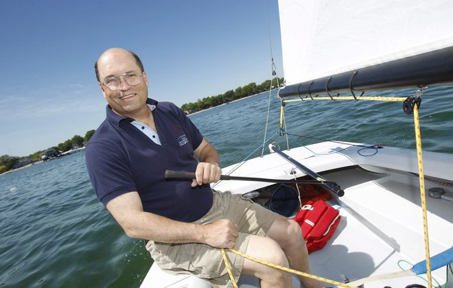 Tom Allen sails a lightning class sailboat at the Buffalo Canoe Club off Bay Beach near Crystal Beach in Canada , Saturday, June 7, 2014.  His company, Allen Boat Company in Buffalo built the boat and use it as a company charter boat. Allen still races hear on Tuesdays.  He tries to get to the major races and some of the larger secondary races throughout the season.   (Sharon Cantillon/Buffalo News)