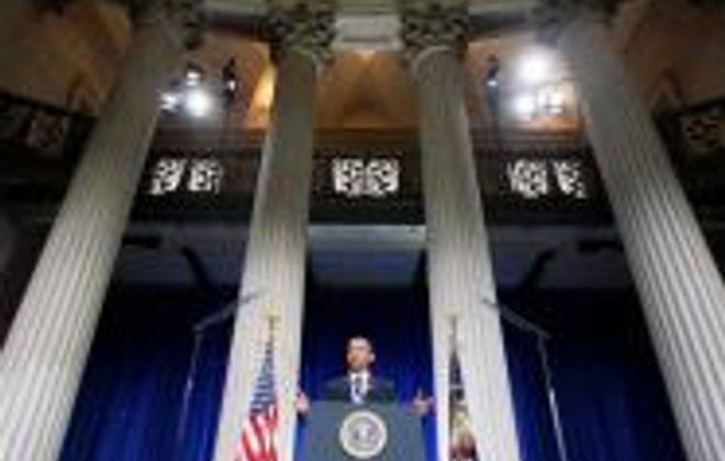 Obama hits Wall Street.