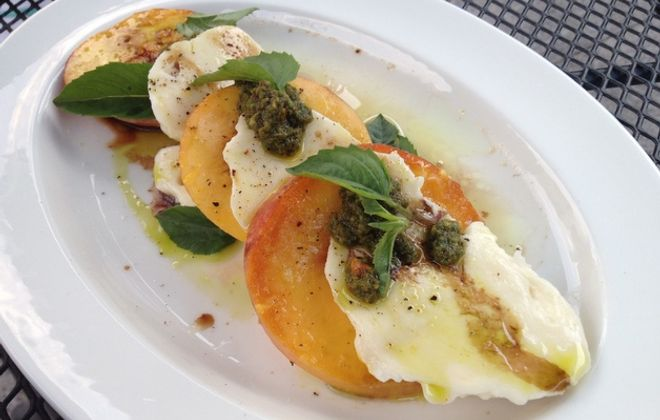 Starters: Peach caprese, smoked chop at The Black Sheep