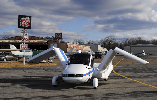 The Terrafugia Transition, which the company considers a street-legal airplane capable of driving safely on roads, is shown in an undated handout photo. Standard equipment for the $279,000 plane/car will include both airbags and a parachute.