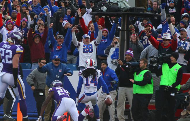 Sammy Watkins and Bills fans celebrate his game-winning touchdown catch. (Mark Mulville/Buffalo News)