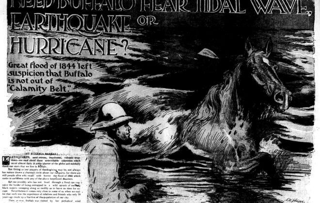 "An illustration that ran in The News in 1914 shows the scene after the Julia Palmer, carrying 300 passengers, was driven into Buffalo bay by the force of flooding. Those trapped aboard sent a horse to shore with a letter attached to its mane, saying they had burned all the wood aboard the vessel and were ""burning the furniture."""