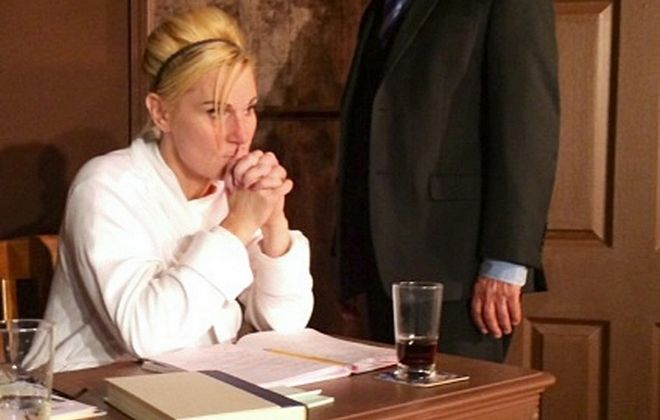 """Lisa Ludwig and Peter Palmisano star in the courtroom drama """"Nuts"""" at Desiderio's Dinner Theatre in Lancaster."""