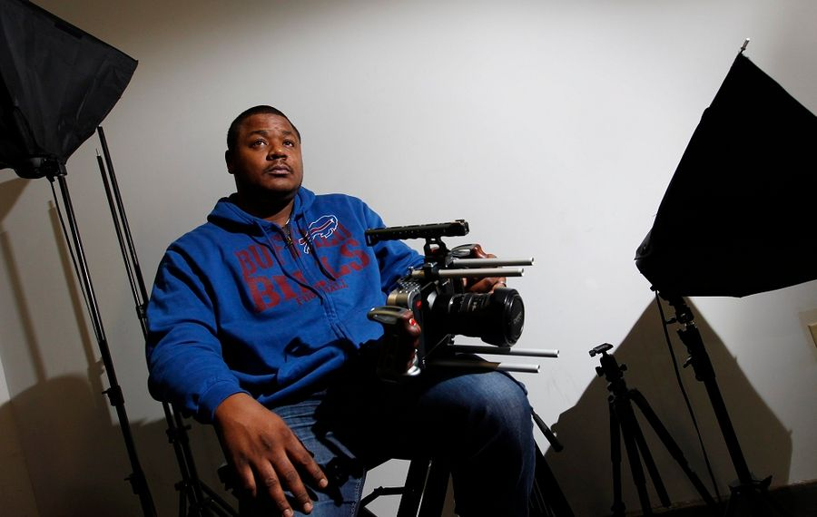 """Filmmaker Korey Green, pictured, teamed up with Buffalo School Board member Larry Quinn to make """"The Romans."""" Green's work is largely drawn from his experiences growing up on the East Side of Buffalo. (Sharon Cantillon/Buffalo News)"""