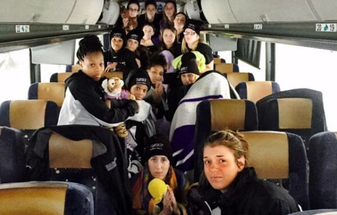 The Niagara University women's basketball teams was stuck on a bus about two miles south of the Lackawanna toll barrier.