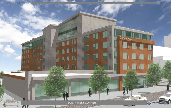 The proposed Hyatt Place hotel for 310 Rainbow Blvd., envisioned in this architectural rendering released in Nov. 2014 by the developer, the Hamister Group. This would be the view standing on Old Falls Street, between Rainbow Boulevard and Prospect Street.