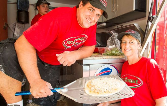 David and Diana Perri of Pizza Amore, whose Buffalo chicken wing pizza is featured on the Cooking Channel's Carnival Eats