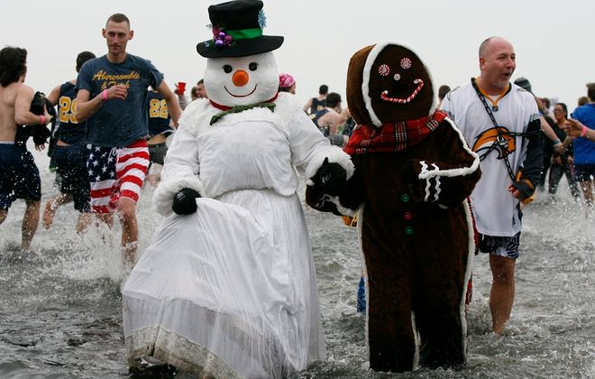 You never quite know who you'll run into at the Polar Plunge. (Harry Scull Jr./Buffalo News file photo)