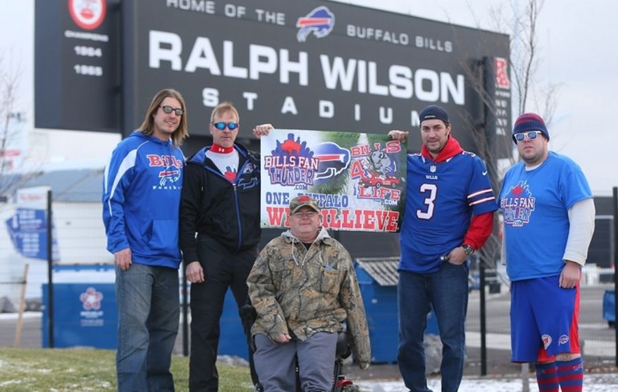 "Bills Fan Thunder founding members (from left) are: Paul Roorda, Charles Pellien, Charles Sonntag III, Anthony Lynch, and Jacob ""Billsfoot"" Gauda. (Mark Mulville/Buffalo News)"