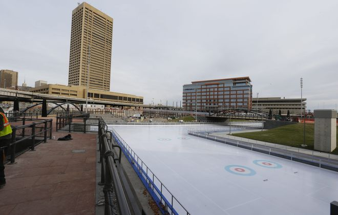 The Ice at Canalside reopened for skating at 2:30 p.m. Sunday.