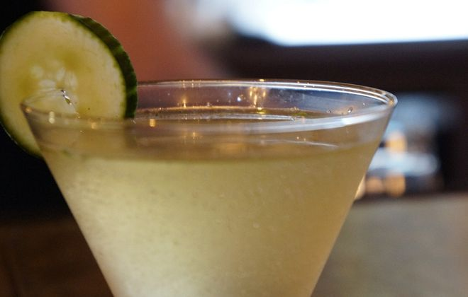 The Perennial from The Lodge is accented with a cucumber slice. (Lizz Schumer/Special to the News)