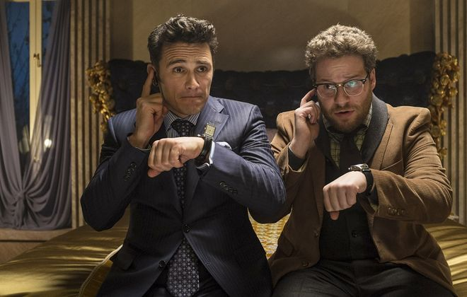 """James Franco, left, is a celebrity-hounding journalist, and Seth Rogen plays his longtime friend and producer in """"The Interview."""""""