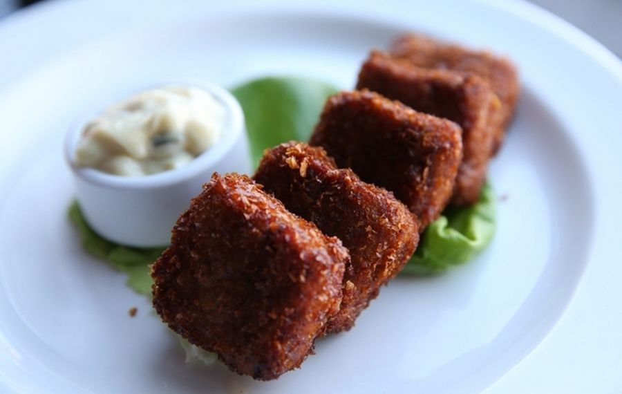 The Black Sheep's pork nuggets are served with housemade ranch dressing. (Sharon Cantillon/Buffalo News)