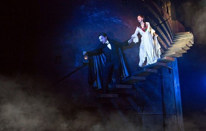 """Chris Mann plays the title role and Katie Travis is Christine in """"The Phantom of the Opera,"""" currently playing at Shea's Performing Arts Center."""