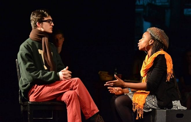 """Nichols School students Ryan DiPaola and Maia Manney rehearse a scene from """"A Buffalo Myth: Our Stories, Our Home,"""" a production written and performed by Nichols students. (Photo courtesy of Matt Kianka)"""