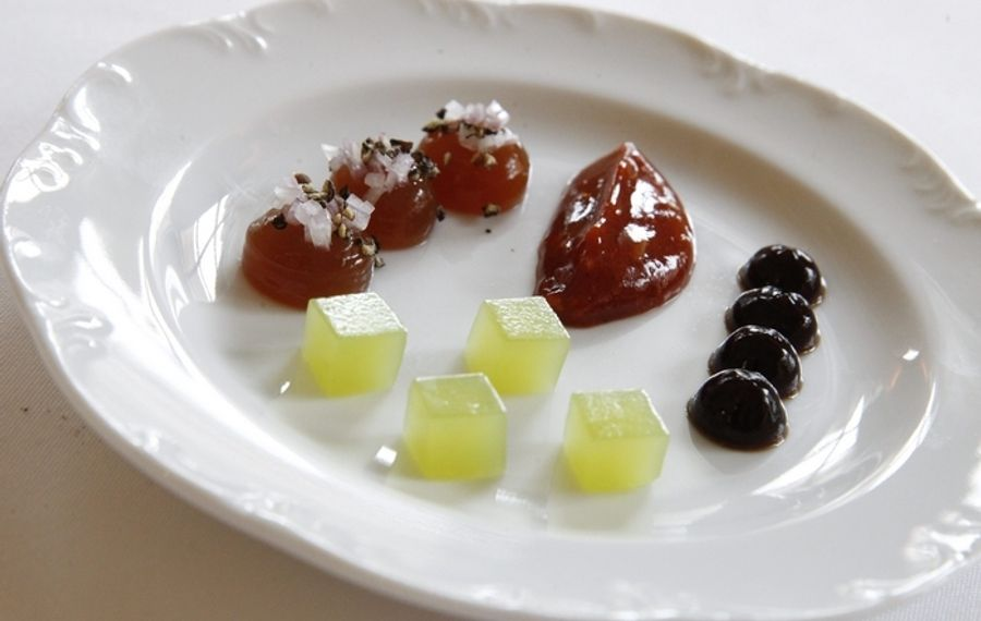 Apple and cucumber gelee, mignonette, cocktail sauce and sea essence. (Sharon Cantillon/Buffalo News)